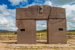 Ruins of Tiwanaku, Bolivia. Tiwanaku is an ancient city near the Lake Titicaca stock image