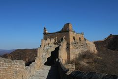 Ruins of a tower in the Great Wall of China Royalty Free Stock Photography