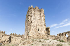 Ruins of the Tower of Homage inside the Castle in Almonacid de Toledo Royalty Free Stock Images