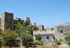 Ruins of tower houses in Vathia Royalty Free Stock Photo
