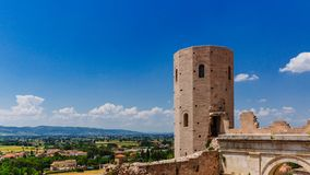 Tower and landscape near Spello, Italy stock images