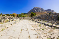 Ruins of town in Corinth, Greece. Archaeology background Royalty Free Stock Image