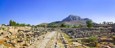 Ruins of town in Corinth, Greece. Archaeology background Stock Photo