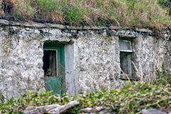 Ruins of a traditional Irish house, Inisheer, Ireland royalty free stock photography