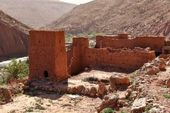 Ruins of traditional mudbrick house in Morocco. Ruins of traditional mudbrick house in the mountains, Morocco, Africa Royalty Free Stock Image