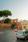 Ruins of Trajan Forum in the Old City of Rome Stock Image