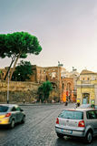 Ruins of Trajan Forum in the Old City in Rome Royalty Free Stock Photos
