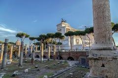 Ruins of Trajan forum with Trajan column and Vittorio Emmanuele Royalty Free Stock Images