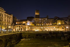 Ruins of Trajan's Market (Mercati di Traiano) in Rome at night. ROME, ITALY - 11TH MARCH 2015: Part of the ruins of Trajan's Market (Mercati di Traiano) in Rome Royalty Free Stock Images