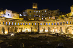Ruins of Trajan's Market (Mercati di Traiano) in Rome at night Stock Photography