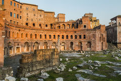 Ruins of Trajan's Market (Mercati di Traiano) in Rome during sun Royalty Free Stock Photos
