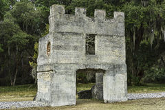 Ruins of troop barracks, Fort Frederika, St. Simons Island, GA Royalty Free Stock Photo