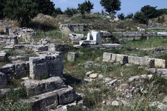 Ruins of Troy. Troy is the setting of the Trojan War described in the Greek Epic Cycle and especially in the Iliad, one of the two epic poems attributed to Homer Royalty Free Stock Photos