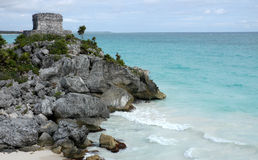 Ruins of Tulum. Mayan ancient ruin in archaeological site of Tulum, Mexico royalty free stock photography