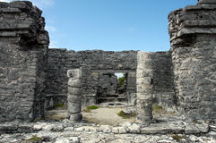 Ruins of Tulum. Mayan ancient ruin in archaeological site of Tulum, Mexico royalty free stock photos