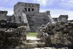 Ruins in tulum. Temple and ruins in tulum mexico stock image
