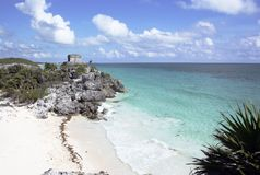 Ruins at Tulum with beach Royalty Free Stock Image