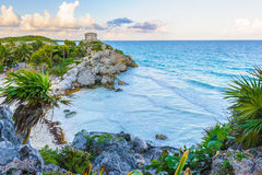 Ruins of Tulum. Mayan castle, God of Winds Temple, on the rock over the ocean in Tulum, Yucatan, Mexico stock photography