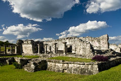 Ruins at Tulum Mexico. Ancient ruins at Tulum Mexico with scenic landscape stock photography
