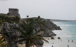 Ruins of Tulum Mexico. Amazing beach of tulum surronded by ancient maya ruins royalty free stock images