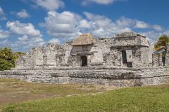 Ruins in Tulum, Mexico. Ruined historic Architecture in the pre Columbian walled city of Tulum, in the Yucutan Peninsula in the state of Quintana Roo, Mexico royalty free stock photos