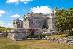 Ruins in Tulum, Mexico. Ruined historic Architecture in the pre Columbian walled city of Tulum, in the Yucutan Peninsula in the state of Quintana Roo, Mexico stock image