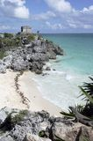 Ruins at Tulum overlooking beach Stock Photography