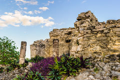 Ruins of Tulum. Is the site of a Pre-Columbian Maya walled city serving as a major port for Cob Stock Photos