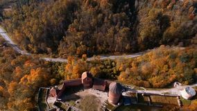 Ruins of Turaida castle on springtime, flying over castle road Sigulda, Latvia. Flying around Ruins of Turaida castle on springtime, Sigulda, Latvia,Turaidas stock video