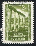 Ruins. TURKEY - CIRCA 1952: stamp printed by Turkey, shows Ruins, Milas, circa 1952 royalty free stock images