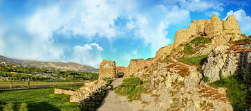 Ruins of Tushpa, Kingdom of Urartu with Van Fortress. The Fortress of Van is a massive stone fortification built by the ancient kingdom of Urartu during the 9th Royalty Free Stock Photos