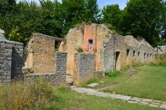 Ruins at Tyneham ghost village, isle of purbeck dorset. Ruins of houses at Tyneham is a ghost village and former civil parish, in south Dorset, England, near royalty free stock photos
