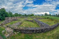 Ruins of the Ulpia Traiana Sarmizegetusa fortress, Romania Stock Image