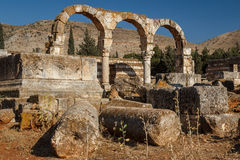 Ruins of the umayyad medieval city Anjar Stock Image