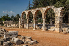 Ruins of the umayyad medieval city Anjar Stock Photo