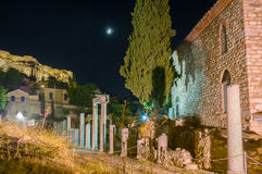 The ruins under the moon Stock Image