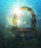 Ruins Underwater. Abstract surreal underwater landscape with ancient ruins Royalty Free Stock Photos