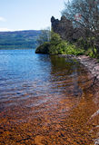 Ruins of the Urquhart Castle in Loch Ness in Scotland Royalty Free Stock Images
