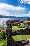 Ruins of the Urquhart Castle at Loch Ness in Scotland Stock Images