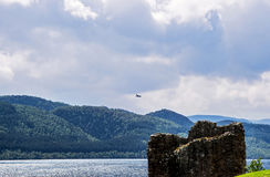 Ruins of the Urquhart Castle in Loch Ness of Scotland Stock Photo