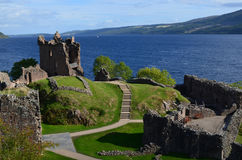 Ruins of Urquhart Castle Beside Loch Ness in Scotland Stock Photography