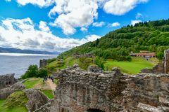 The ruins of Urquhart Castle on the shores of Loch Ness in Scotland stock photo