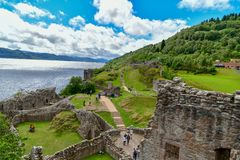 The ruins of Urquhart Castle on the shores of Loch Ness in Scotland stock image
