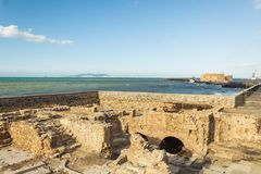 Ruins of the venetian coastal wall in heraklion crete royalty free stock images