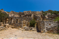 The ruins of the Venetian fortress on Spinalonga island. Royalty Free Stock Photo