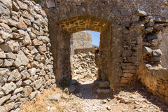 The ruins of the Venetian fortress on Spinalonga island. Royalty Free Stock Images