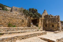 The ruins of the Venetian fortress on Spinalonga island. Royalty Free Stock Photos
