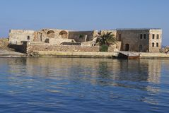 Ruins, The Venetian port or old harbor of Chania, Crete, Greece Stock Image