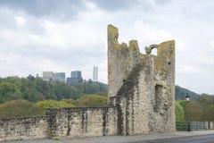 Ruins versus modern buildings royalty free stock photography