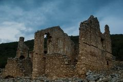Ruins of a very old building. In South of Turkey. Near Kas / Antalya. Ancient stone house Stock Photos